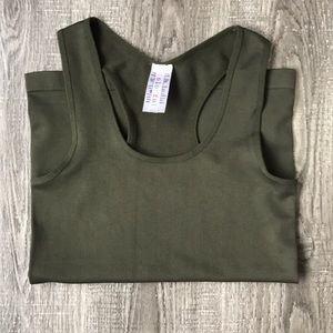 Tops - Ribbed green muscle tank